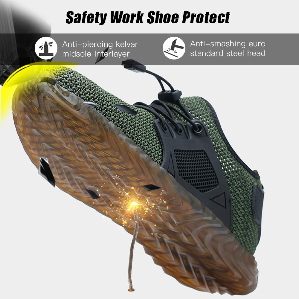 Safety Work Shoes for Men Non-Slip Resistant Industrial Construction Steel Toe Shoe Lightweight Breathable Sneakers Steel Toe Shoes