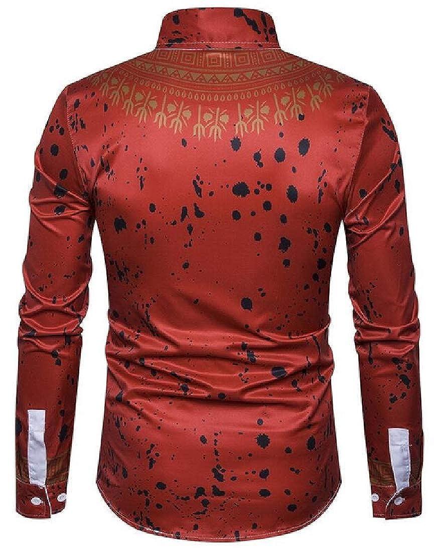 M/&S/&W Men Casual Dress Shirts African Dashiki Floral Pattern Print