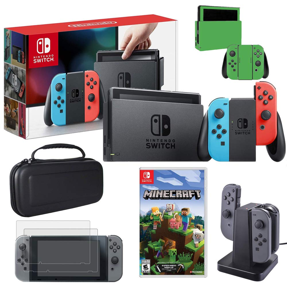 Nintendo Switch 32GB(Neon Blue&Red) with Minecraft, Charging Dock & More