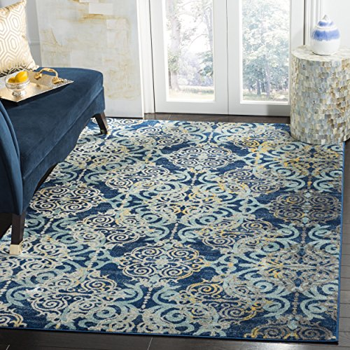 Royal Blue Rug (Safavieh Evoke Collection EVK230A Vintage Medallion Damask Royal Blue Light Blue Area Rug (6'7