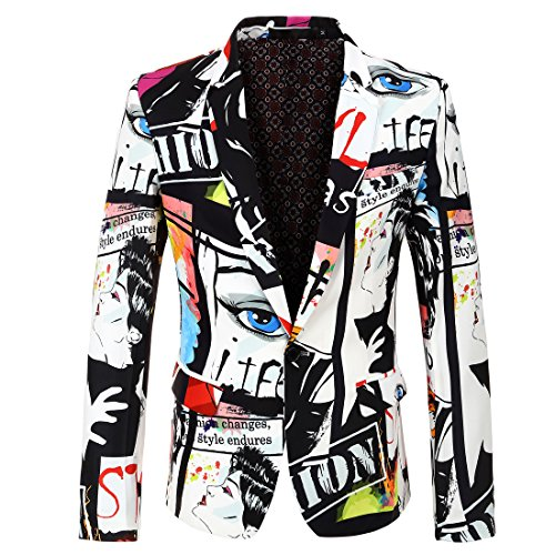 - CARFFIV Mens Fashion Colorated Floral Print Suit Jacket Casual Blazer (Photo Color, S/38R)