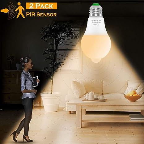 Motion Sensor Light Bulb Indoor 5w Pir Motion Detector Bulbs E26 Base A19 Outdoor Smart Light Bulb 2700k Soft White For Garage Porch Stairs