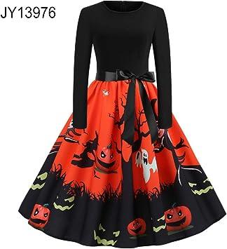JY13977 XXL - Disfraz de calabaza de Halloween para mujer, manga ...