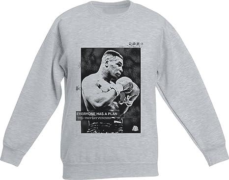 fa77826ddb1306 Actual Fact Mike Tyson Plan Boxing Premium Grey Crew Neck Sweatshirt  Jumper  Amazon.co.uk  Clothing