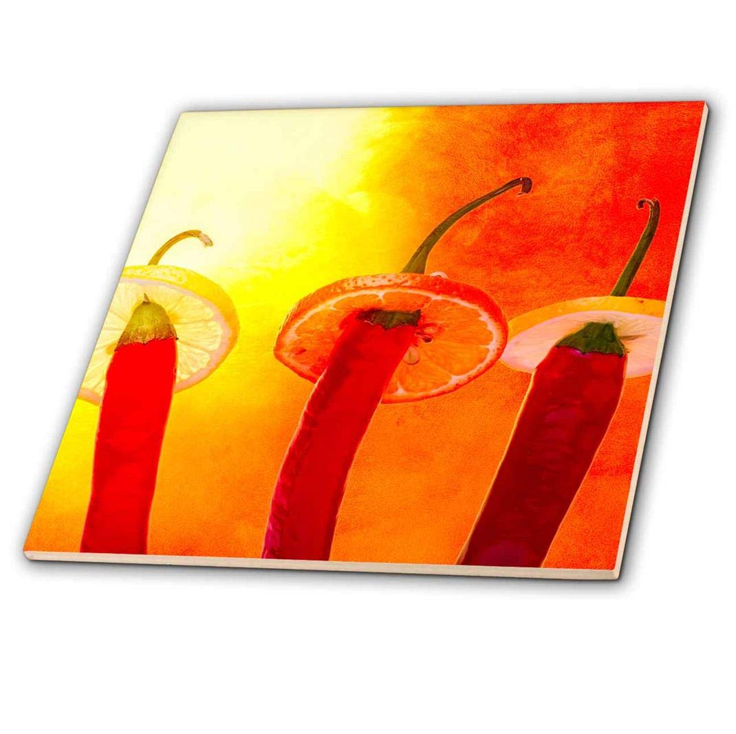 3dRose'Red Chili Peppers in sombreros Under hot Sun Hola Amigo Glass Tile 8' ct_267126_7