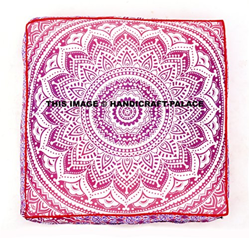 Pink Ombre Mandala Large Square Floor Pillow Cover Cotton, Oversized Daybed Outddor Ottoman Pouf Cover by Handicraft-Palace by Handicraft-Palace (Image #1)