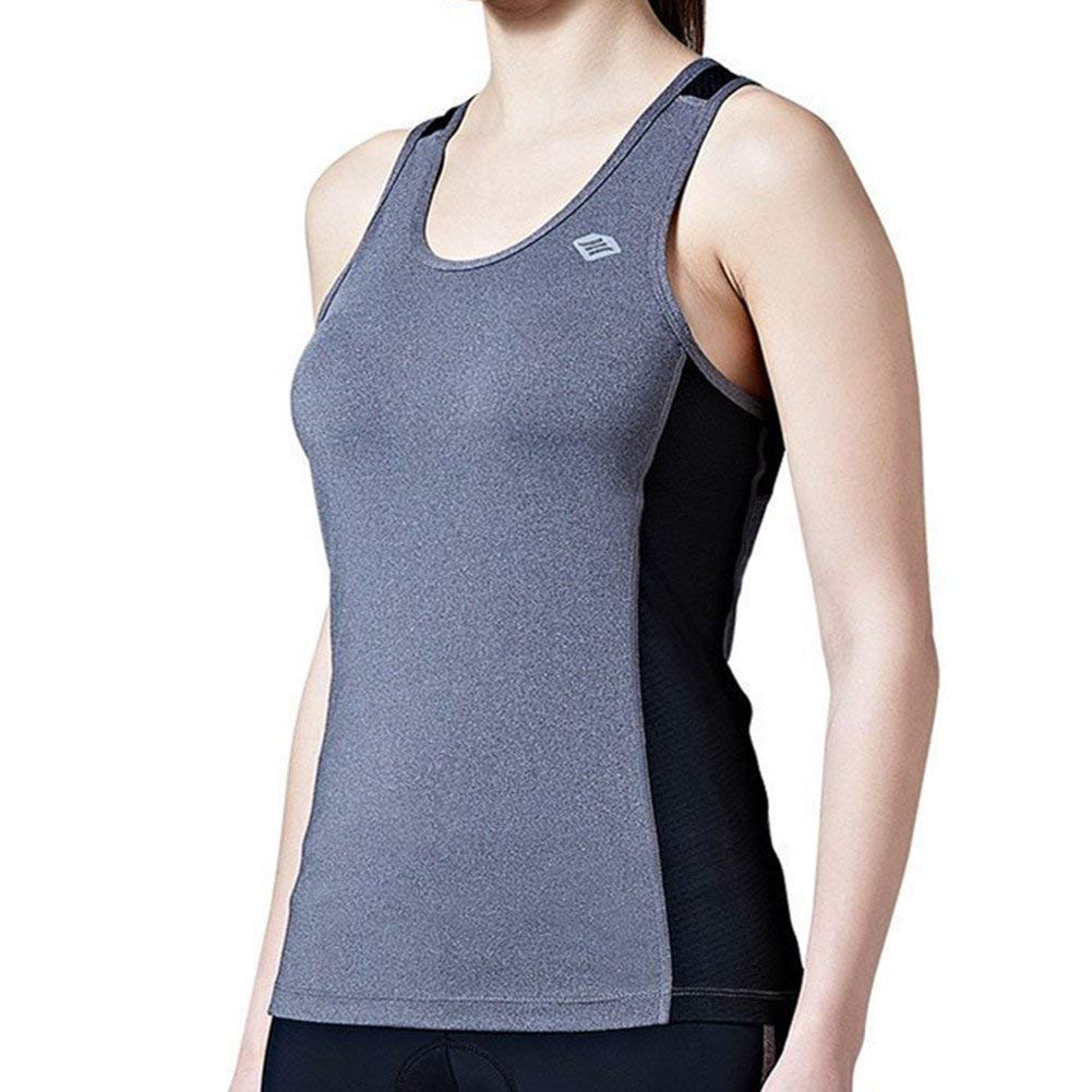 Santic Women's Cycling Jersey Sleeveless Bike Tank Top Gray X-Large by Santic