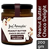 Jus' Amazin Organic Peanut Butter - Choco Delight - High Protein | Zero Cholesterol | 100% Natural | Dairy Free | Soy Free | Vegan