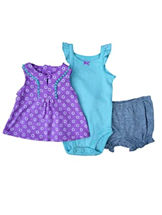 42d0855edf25 Amazon.com  Carter s Infant Girls Purple Shirt Striped Creeper ...