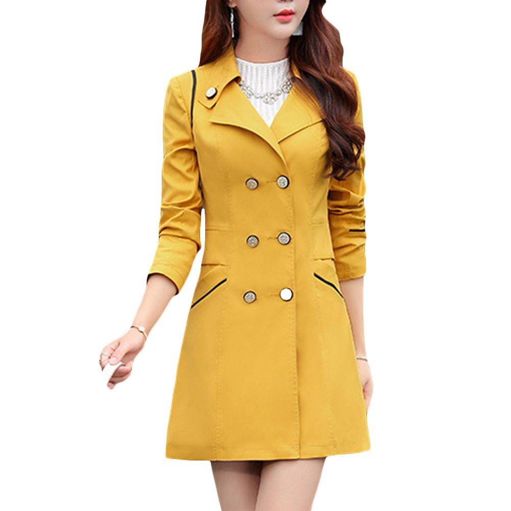 Verypoppa Women's Double Breasted Lapel Thin Trench Coats Jackets (US 0/2 = Asian M, Yellow)