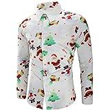 Camisa de Manga Larga Estampada para Hombre Otoño Invierno Blusa de Impresión de Navidad La Solapa Tops de Slim Fit Casual Múltiples Estilos Gusspower