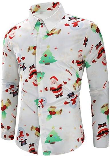 DEELIN Navidad Camisa De Manga Larga, Los Hombres Copos De Nieve Casual Santa Candy Impresa Camisa De Navidad Blusa Superior: Amazon.es: Ropa y accesorios