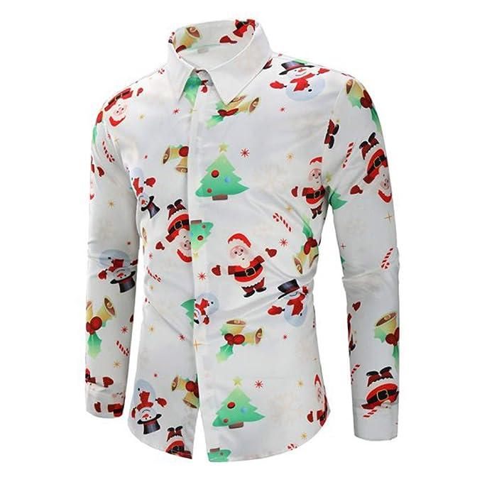 Foto Di Natale Neve Inverno 94.Ningsun Uomini Casuale Fiocchi Di Neve Babbo Caramella Stampato Camicia Di Natale Manica Lunga Top Camicetta Uomo Autunno Inverno Moda Men Shirts Slim