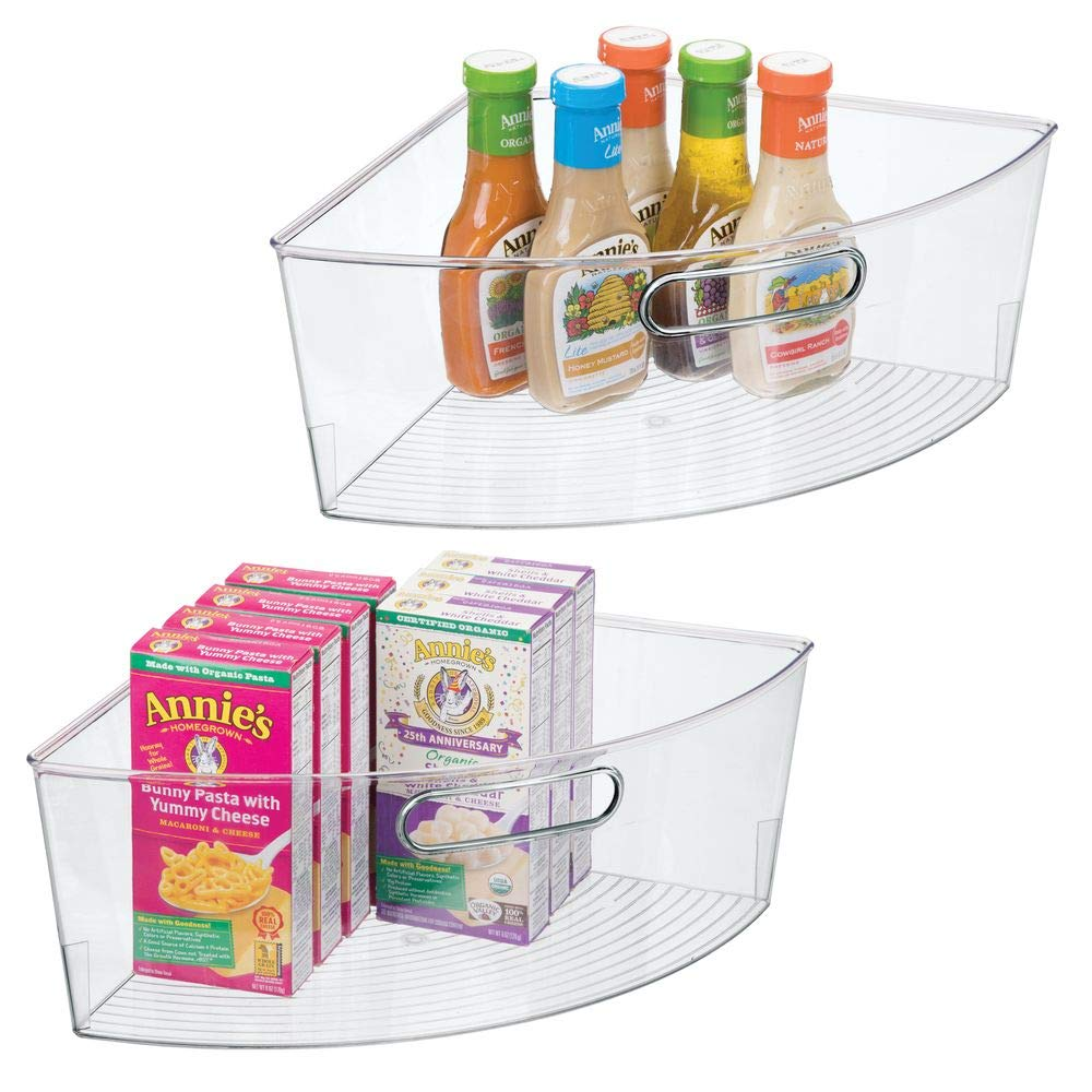 "mDesign Kitchen Cabinet Plastic Lazy Susan Storage Organizer Bins with Front Handle - Large Pie-Shaped 1/4 Wedge, 6"" Deep Container - Food Safe, BPA Free, 2 Pack - Clear"