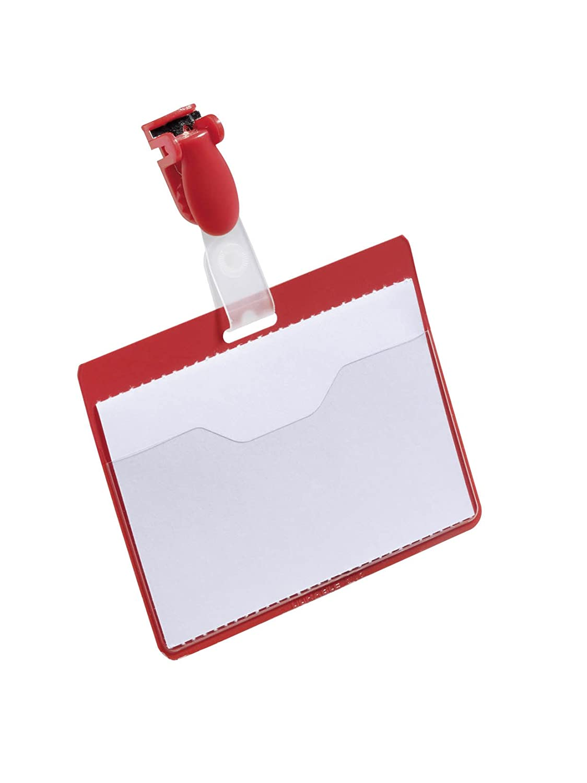 Durable 810603 Namensschild Packung /à 25 St/ück rot mit Clip, 60 x 90 mm, Kunststoff