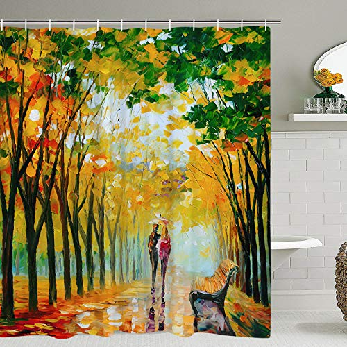 BLEUM CADE Oil Painting Shower Curtain Lover Walk in The Rain & Forest Bathroom Shower Curtain Durable Waterproof with 12 Hooks