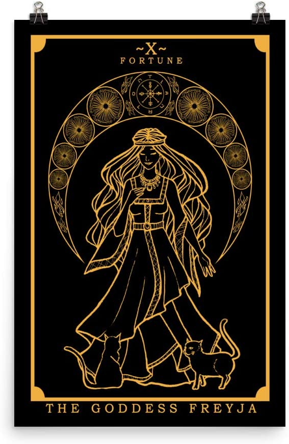 The Goddess Freyja Tarot Card Poster (Black & Gold) - Norse Goddess Freya Pagan Witch Wall Art Home Decor (24