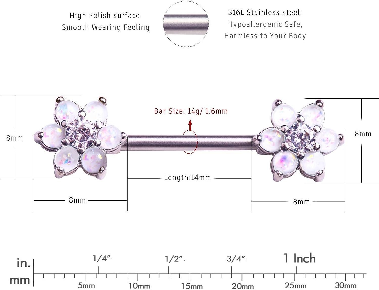 Jewseen 2PCS 14g Nipple Barbell Sythetical Stone 316L Stainless Steel Nipplerings Nipple Bar Body Piercing