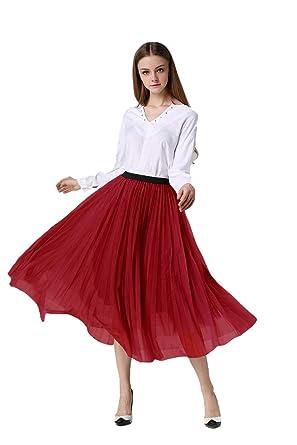 Afibi Falda tutú de Tul Plisada con Falda de Tul para Mujer - Rojo ...