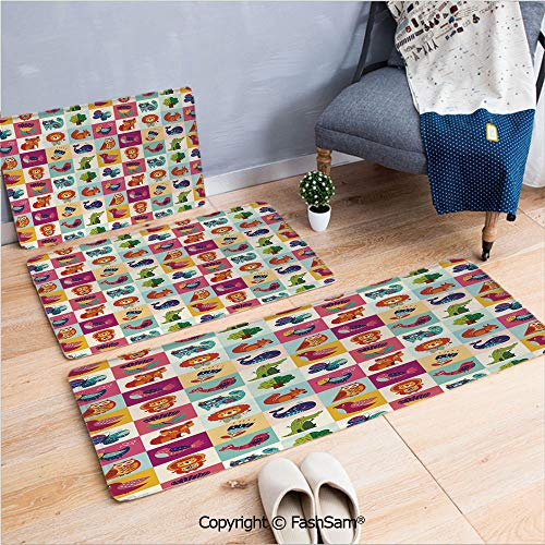 3 Piece Non Slip Flannel Door Mat Big Colorful Set with Lovely Animals Birds and Flowers Artistic Ornamental Details Decorative Indoor Carpet for bath Kitchen(W15.7xL23.6 by W19.6xL31.5 by W15.7xL39.4 ()