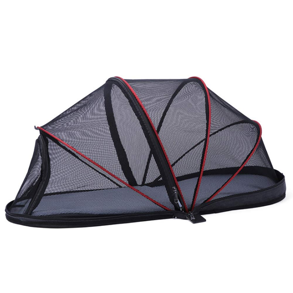 Pet Mesh Tent Cat Tunnel Fun House Portable Exercise Tent Outdoor with Carry Bag Easy One Step Assembly for Cats Dog and Small Animals Black