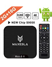 Smart TV Box Android 7.1 - Maxesla MAX-S II Mini TV Box de 2 GB RAM + 16 GB ROM, 2019 Última CPU Amlogic S905X, WiFi 2.4GHz, Doble USB, H.265, HDMI & AV, 4K UHD TV Box