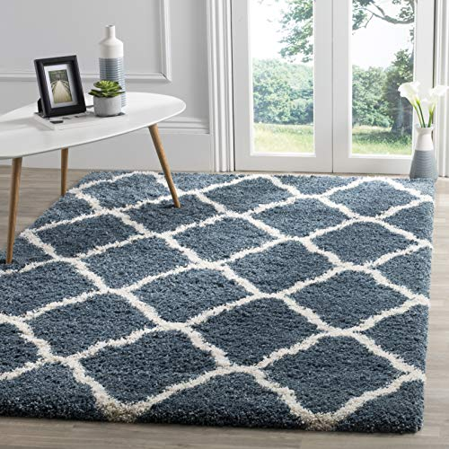 - Safavieh Hudson Shag Collection SGH283L Slate Blue and Ivory Moroccan Geometric Area Rug (8' x 10')