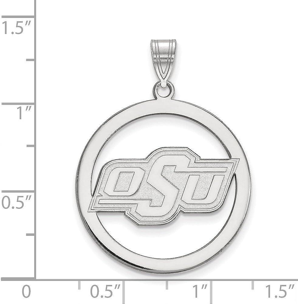 Collegiate Oklahoma State University Sterling Silver LogoArt Oklahoma State University L Pendant in Circle
