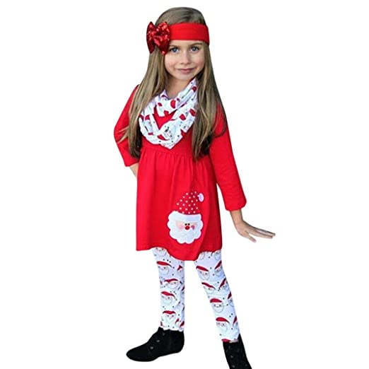 d007eb7e56f0 FEITONG Toddler Little Girls Xmas Christmas Dress Tops+Pants (Red, 1.5Year)