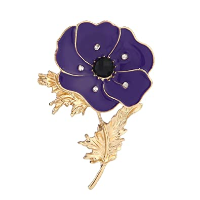 3f27982b1c9 YAVONA Enamel Crystal Flowers Purple Poppy Brooches for Women Jewelry  Broach pins Remembrance Day Gifts: Amazon.co.uk: Jewellery