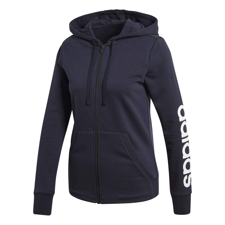 adidas Women's Essentials Linear Full Zip Hoodie Legend Ink/White Medium