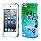 PHONETATOOS iPod touch 5th 6th Generation White Plastic/Blue Silicone 3-Piece Style Hybrid Hard Case Cover for Apple- For Girls And Boys-Shockproof Dustproof with Stand (Dolphin)
