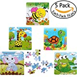 frog development - Kids Puzzles Toys For 2-4 Ages, Wooden Animals Educational Puzzle, 5 In 1 Pack For Elephant Frog Tortoise Giraffe Bee Set 16 Pieces Autism Children Puzzles Learning Toys ( Bright Colors )
