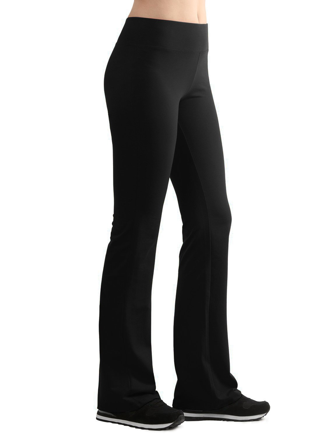 WB961 Womens Slim-Fit Bootleg Yoga Pants L Black by Lock and Love