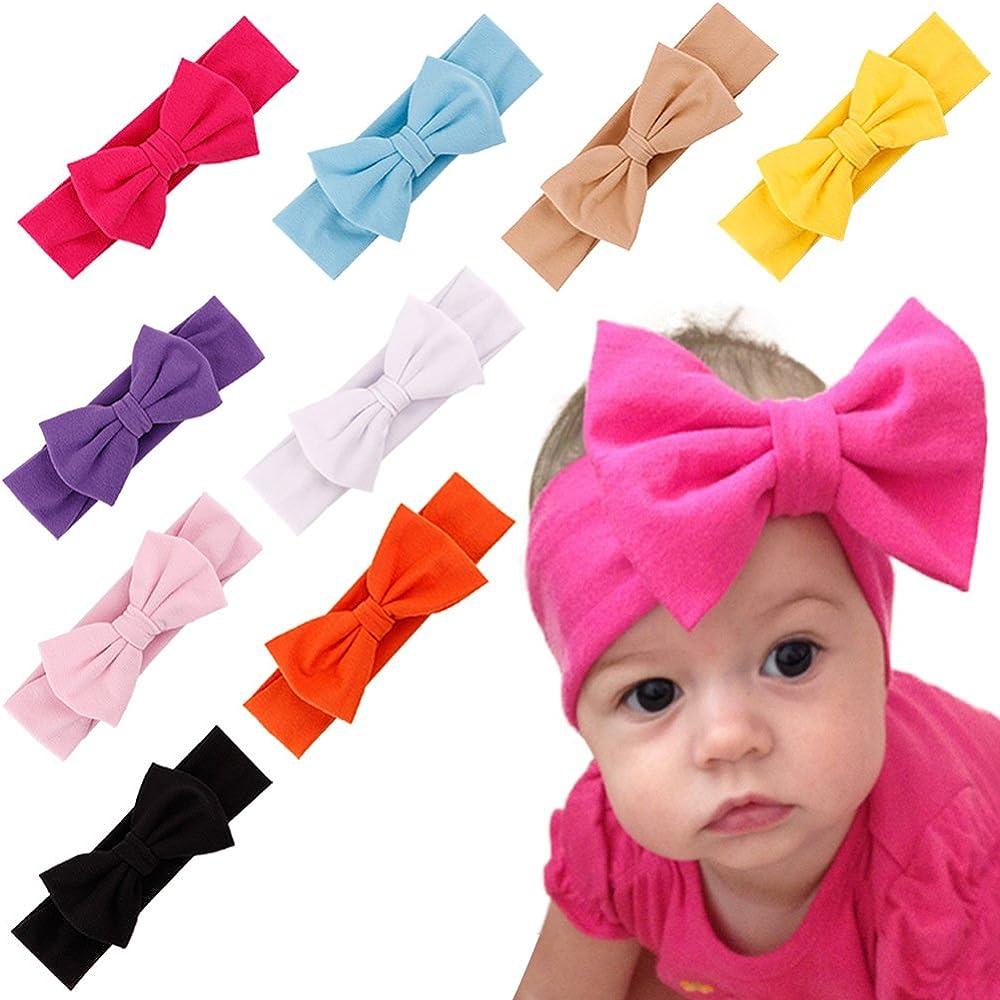 FLYFISH Niña de Diademas, 10-Pack Orejas De Conejo Headwear Suave Diadema ReciéN Nacido NiñOs Bandas EláSticas del Pelo Accesorios para El Cabello