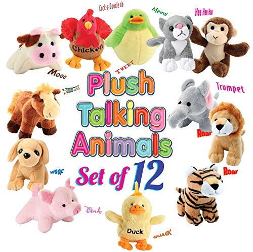 (12 Plush Talking Animal Sound Toys by Animal House | Baby Gift & Party Favors)