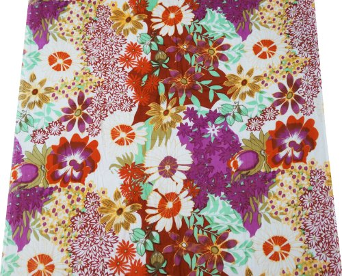 """Multicolor Cotton Poplin Fabric Floral Print 42"""" Quilt Bedspread Art India Sewing Fabric By The Yard"""