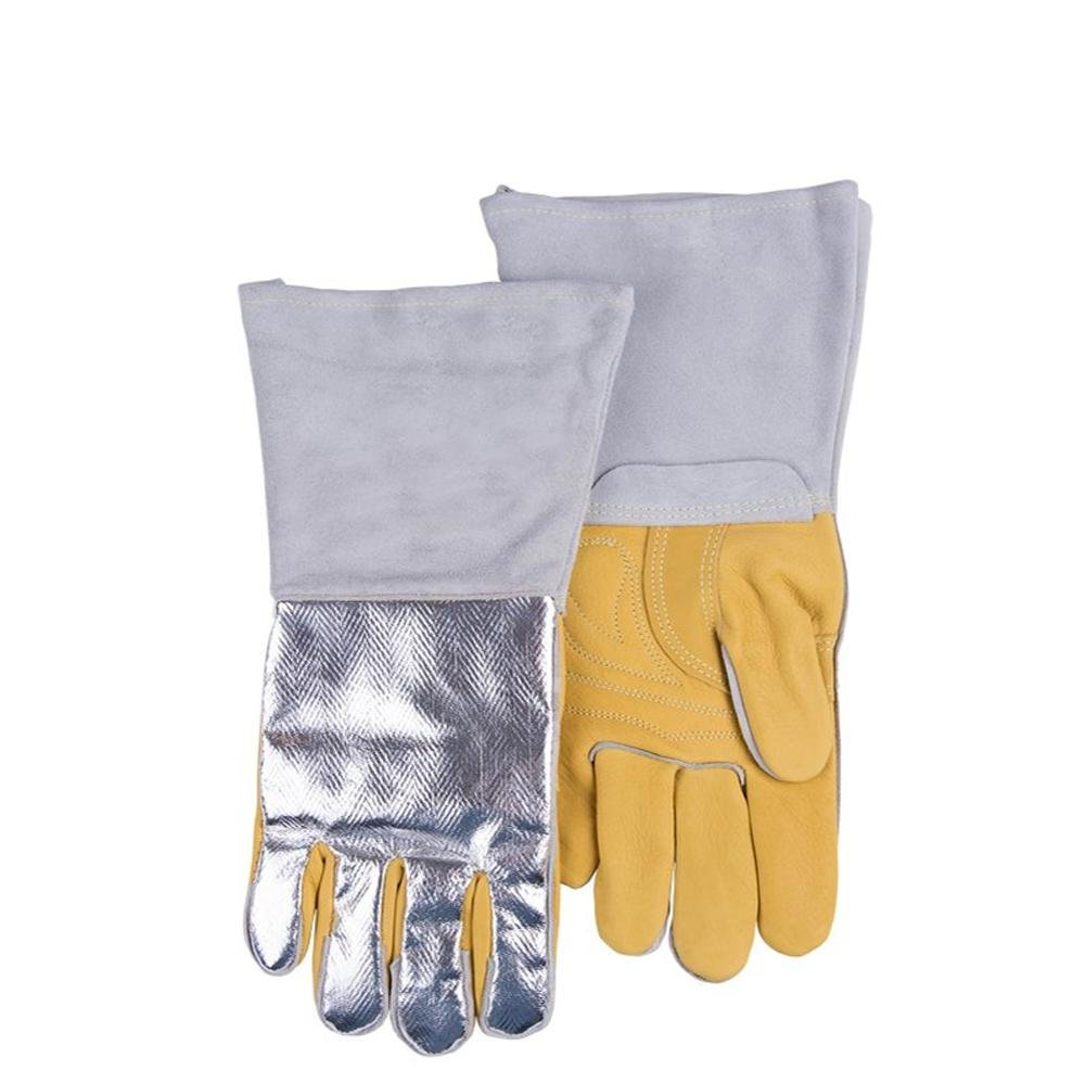 Electric welding gloves Flame-retardant anti-splashing anti-hot aluminum foil Reflective heat flow High temperature gloves Safety protection Hand supplies