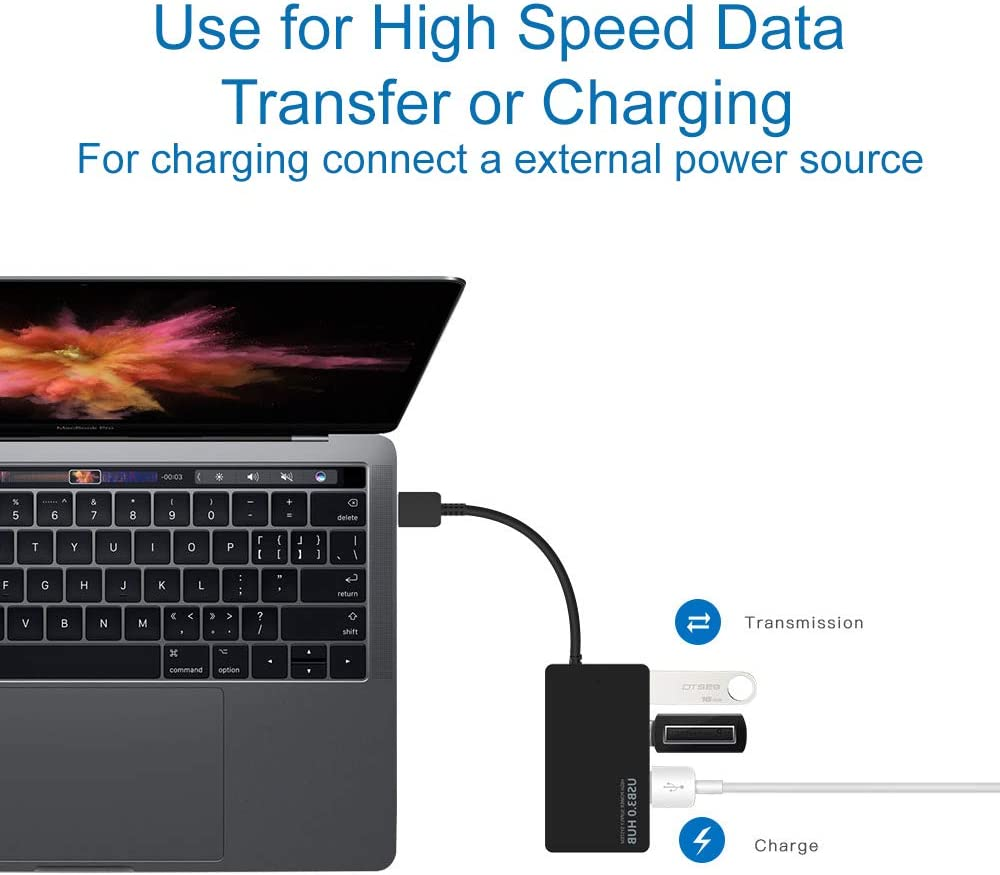MMOBIEL 4-Port USB 3.0 Data Hub Compatible with MacBook Mac Pro//Mini iMac Surface Pro XPS Notebook PC USB Flash Drives Mobile HDD
