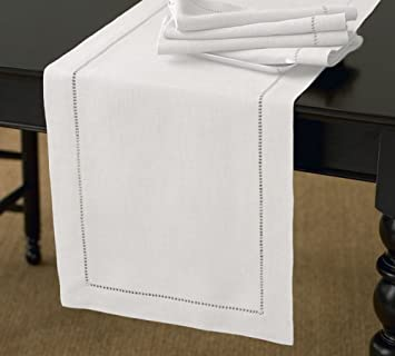 Charming Handmade Basic Hemstitch Table Runner, 16u0026quot;X72u0026quot; Rectangular,  Various Colors (White