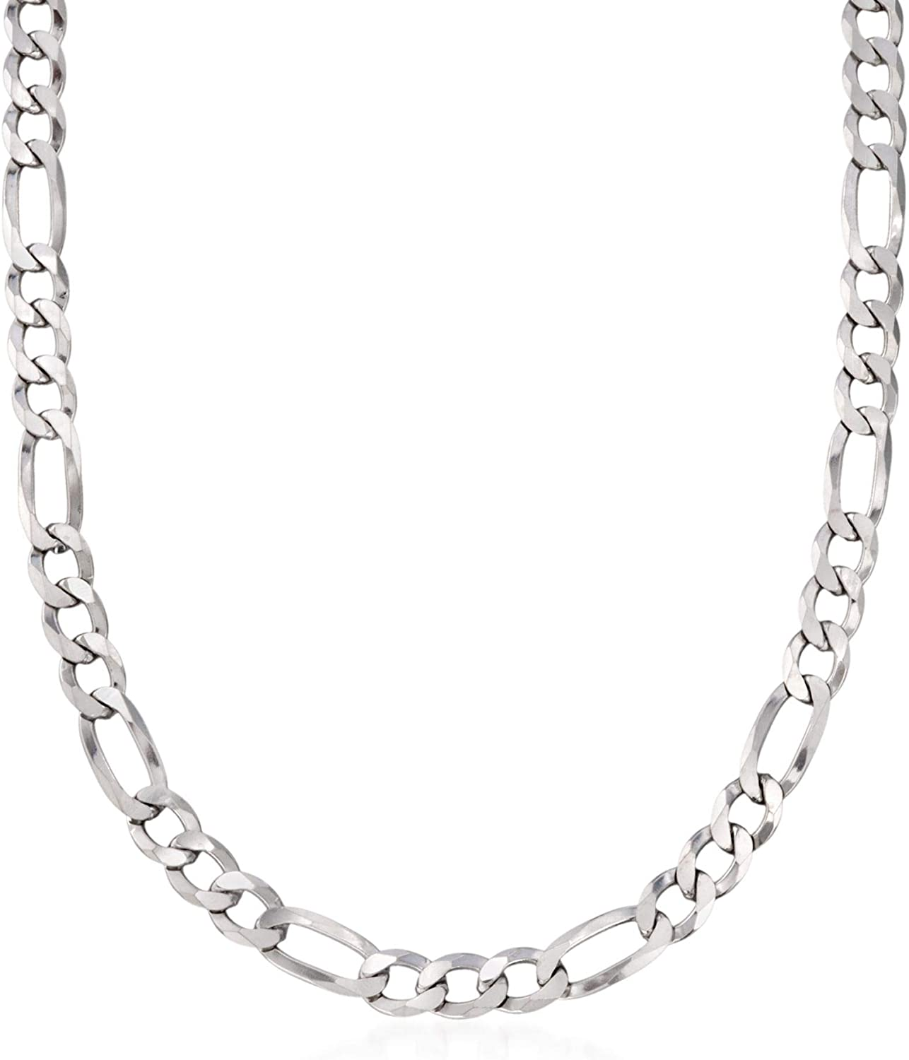 Ross-Simons Mens 7.8mm Sterling Silver Figaro Link Necklace