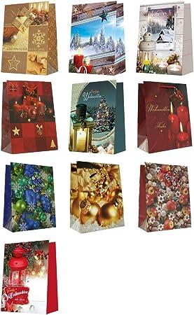 4 Geschenktüten m 4 versch Motive Geschenktaschen Geschenkbeutel 23 x 18 x 10 cm