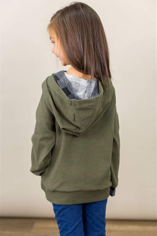 storeofbaby Girls Hoodies Langarm-Pullover mit Rundhalsausschnitt und Knopf L/ässig