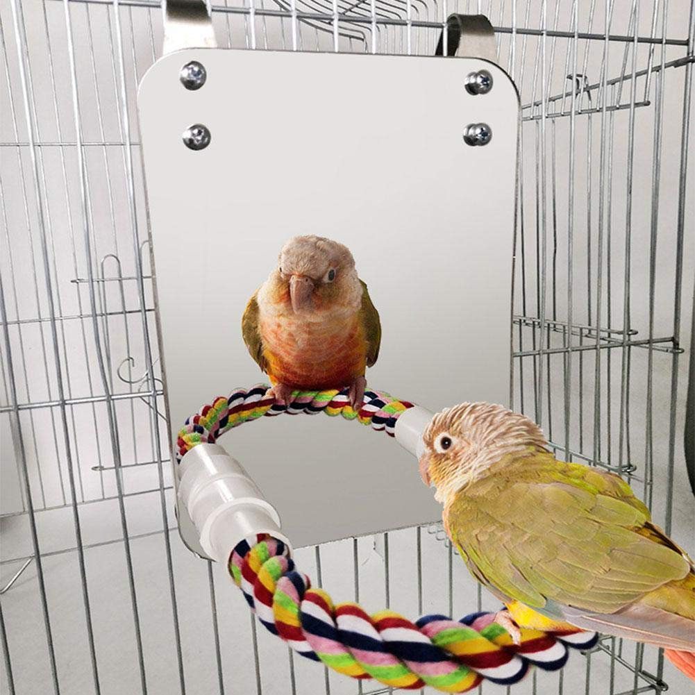 Keyeep Stainless Steel Bird Mirror with Rope Perch Bite Resistant Bird Toys Swing Comfy Perch for Cockatiel Lovebirds Parrots