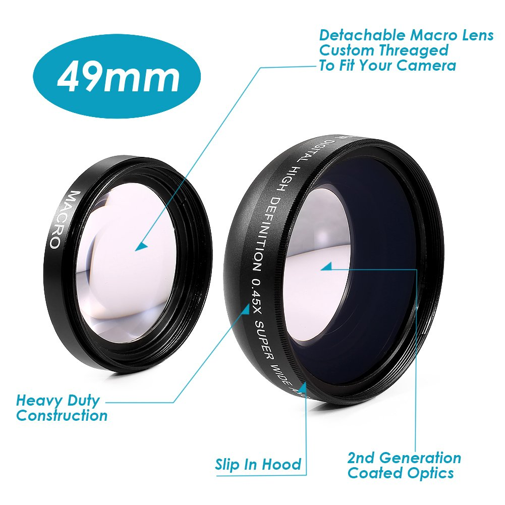 Neewer 0.45x 49mm Professional 2IN1 Super Wide Angle Lens with Detachable Macro Close Up Conversion Lens for DSLR Camera 10082322@@##1