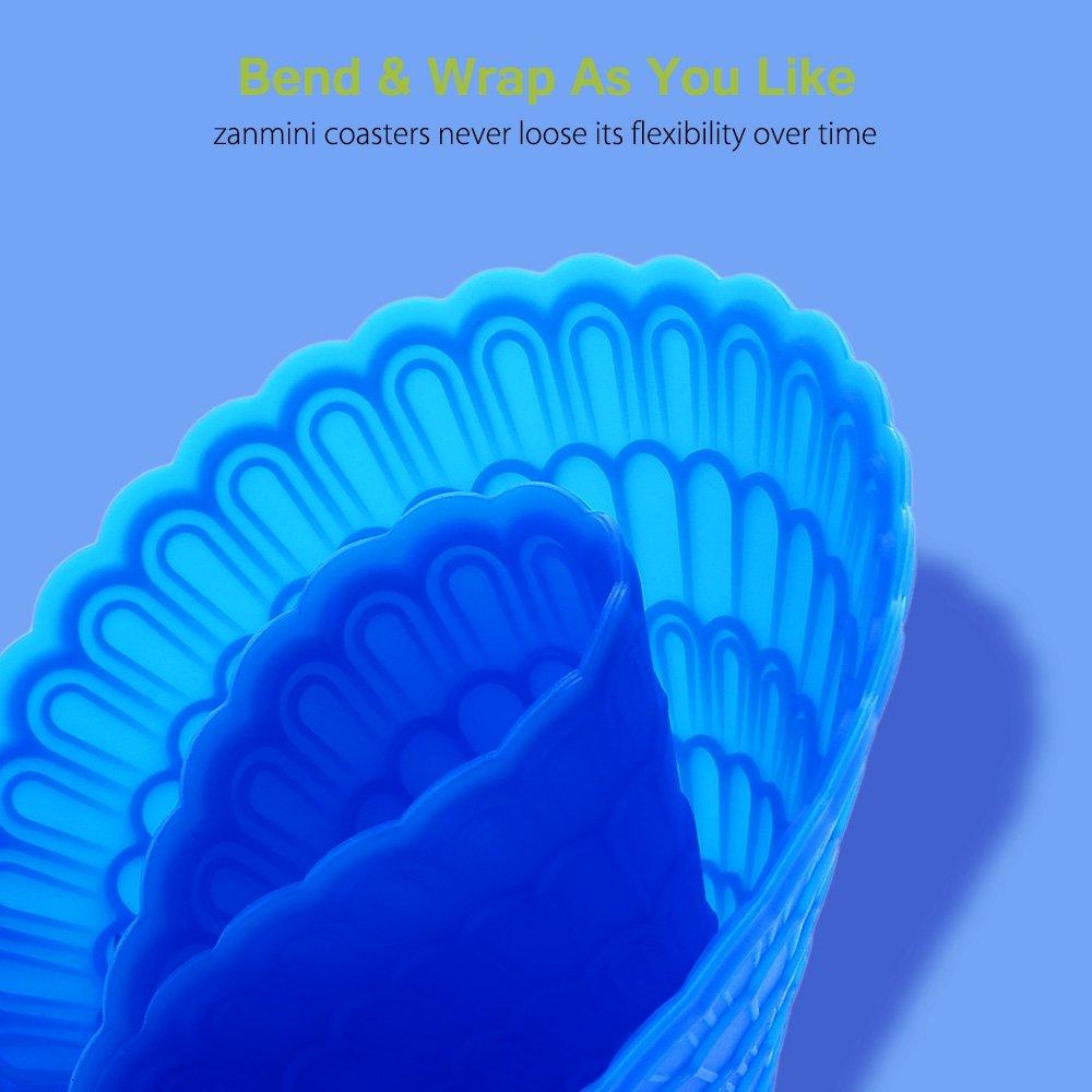Zanmini Silicone Coasters Set, Floral Design Silicone Glass Coasters, 6pcs/Set, 4\