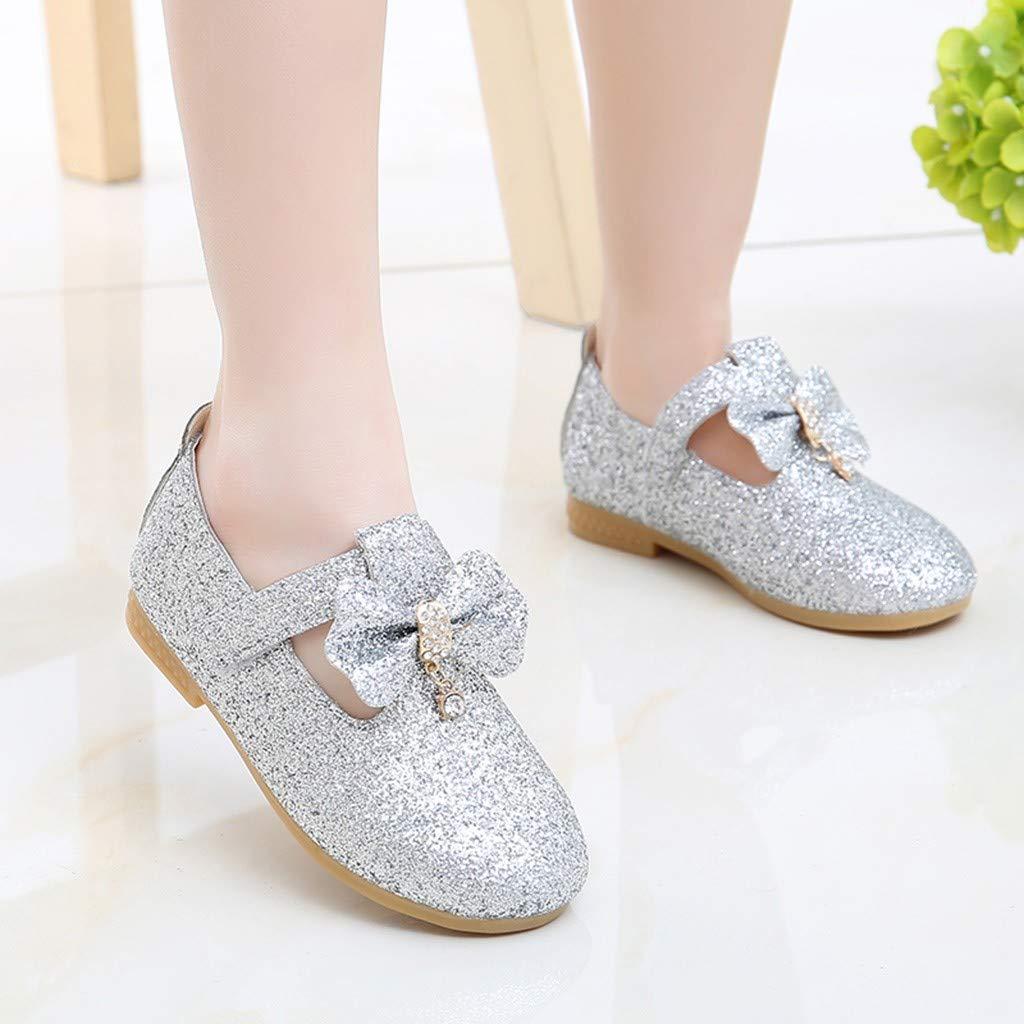 Kstare Elegant Girls Sequin Flower Dance Princess Flat for Toddler Little Kid School Dress Shoes