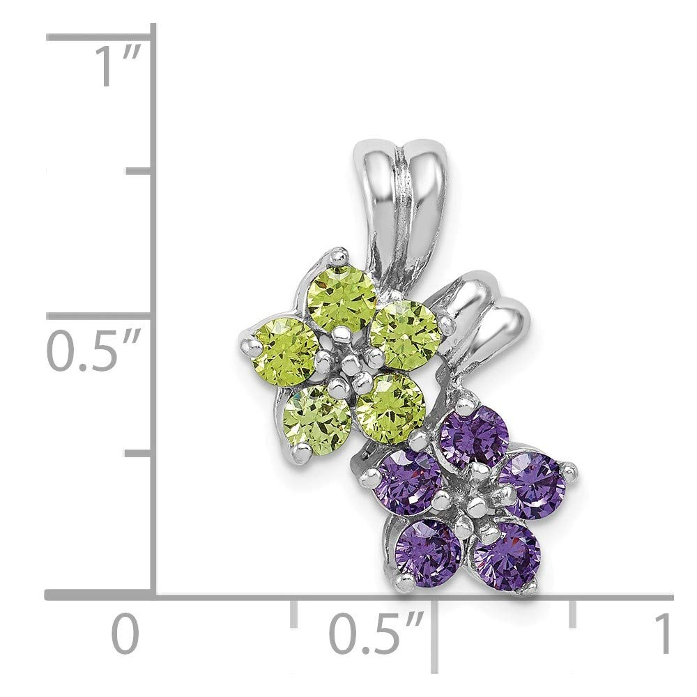 Mia Diamonds 925 Sterling Silver Solid Amethyst and Peridot Floral Pendant 21mm x 15mm