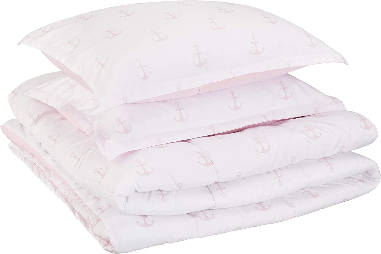 AmazonBasics Kid's Comforter Set - Soft, Easy-Wash Microfiber - Full/Queen, Pink Anchors