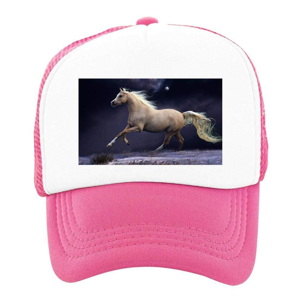 EThomasine Kids Girls Boys Mesh Cap Trucker Hats Horse Adjustable Hat Pink